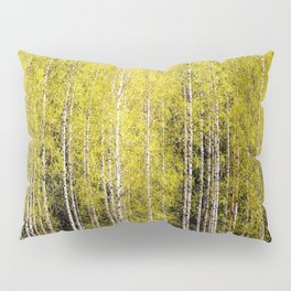 Lovely spring atmosphere - vibrant green leaves on the trees - beautiful birch grove Pillow Sham