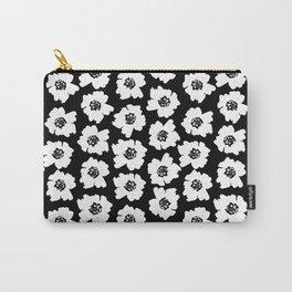 Linocut botanical nature floral flower art nursery black and white decor newborn Carry-All Pouch