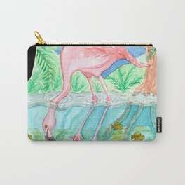 Flamingo Underwater Watercolor and Acrylic Painting Carry-All Pouch