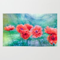 poppies Area & Throw Rugs featuring Poppies by LudaNayvelt