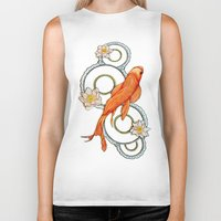 koi fish Biker Tanks featuring Koi Fish by Eleni Kakoullis