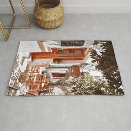 Traditional Coffee Shop in Greece, Greek Summer in Cyclades islands, Orange and Green Travel Photography  Rug
