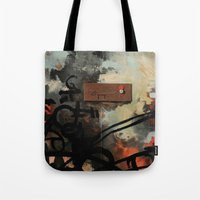 chad wys Tote Bags featuring Dog Walker (A collaboration by Chad, Gabi, and Emily Beroth) by Chad Beroth