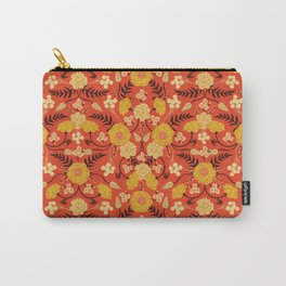 Vibrant Orange, Yellow & Brown Floral Pattern w/ Retro Colors Carry-All Pouch