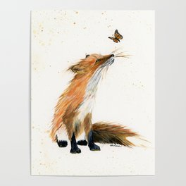 Monarch Fox - animal watercolor painting Poster