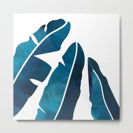 Indigo Banana Leaves Metal Print