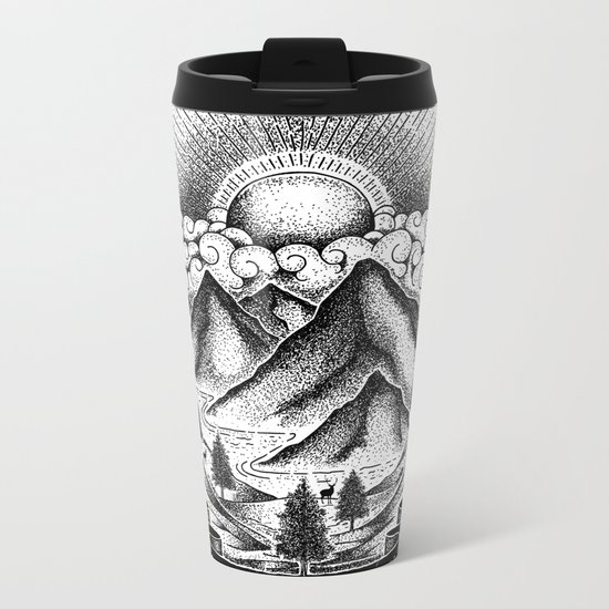 FIND A BEAUTIFUL PLACE TO GET LOST (White) Metal Travel Mug
