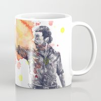 rick grimes Mugs featuring Portrait of Rick Grimes from The Walking Dead by idillard