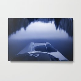 Smooth Sailing kayaking monochrome reflections Metal Print