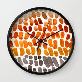 Yellow Ochre Brown Dark Brown Fall Autumn Color Palette Natural Patterns Colorful WatercolorAbstract Wall Clock