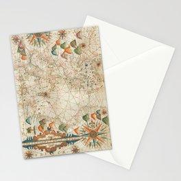 Vintage Map - Oliva - 17th Century Portolan Chart of the Mediterranean Sea Stationery Cards