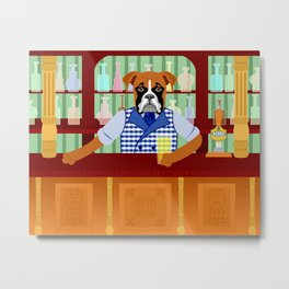 Boxer Dog Beer Pub Metal Print