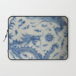 Damask vintage Monaco blue white girly ginger jar floral antique chinese dragon chinoiserie china Laptop Sleeve