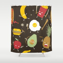 Food Fight Shower Curtain