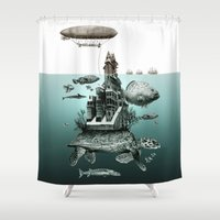 sea turtle Shower Curtains featuring turtle by Кaterina Кalinich