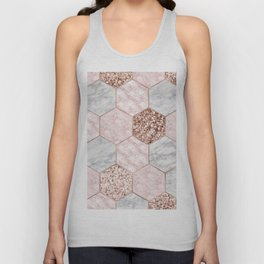 Rose gold dreaming - marble hexagons Unisex Tank Top