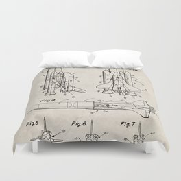 Nasa Space Shuttle Patent - Nasa Shuttle Art - Antique Duvet Cover