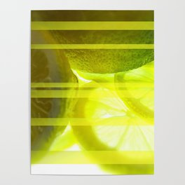 Light & Limes Striped Abstract Design Poster