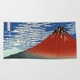 "Hokusai (1760–1849) ""Fuji, Mountains in clear Weather (South Wind, Clear Sky)(Red Fuji)"" Beach Towel"