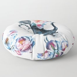 pitcher with flowers Floor Pillow