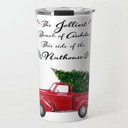 The Jolliest Bunch - Funny Holiday Watercolor Painting Travel Mug