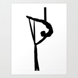 Aerial Silk Artist Silhouette  Art Print