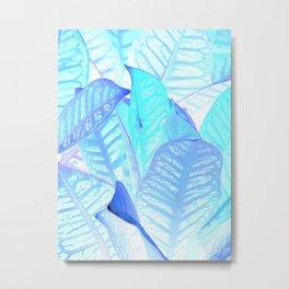 Blue Croton Tropical Leaves Metal Print