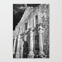Black & White photograph of the Alamo, in San Antonio, TX Canvas Print