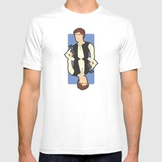 Han Solo White Mens Fitted Tee MEDIUM