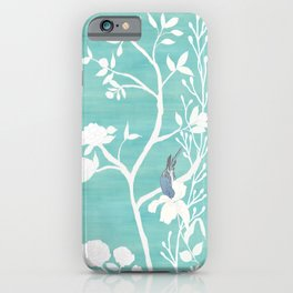 Chinoiserie Panels 4-5 White Scene on Teal Raw Silk - Casart Scenoiserie Collection iPhone Case