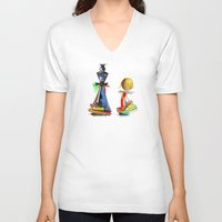 chess V-neck T-shirts featuring chess by tatiana-teni