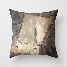 Siena, Italy watercolor painting.  Il Campo in the medieval city of Siena Italy fine art painting B&W art Throw Pillow