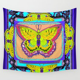 Yellow-Pink Art Deco Moth Western  Abstract  Wall Tapestry