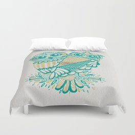 Owls – Turquoise & Gold Duvet Cover
