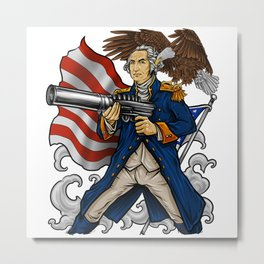 Patriotic Father Of Merica | Independence Day Metal Print