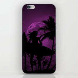 Purple Dusk with Surfergirl in Black Silhouette with Shortboard iPhone Skin