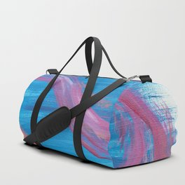 Bounce - Abstract painting in modern bright blue contrasting with fuchsia pink Duffle Bag