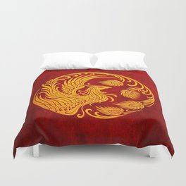 Traditional Yellow and Red Chinese Phoenix Circle Duvet Cover