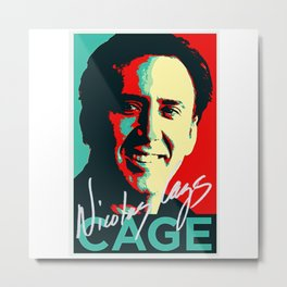 Nicolas Cage Signed Art | Funny Meme | Nic Cage Face | Gift For Men, Woman Metal Print