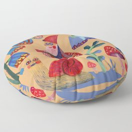 Gnome, snails and butterfies Floor Pillow