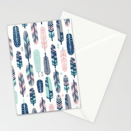 Feathers geometric trendy gender neutral colors modern feather and arrows pattern print dorm college Stationery Cards