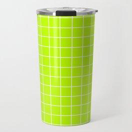 Bitter lime - green color - White Lines Grid Pattern Travel Mug