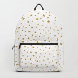 Gold Star Sprinkle on White Backpack