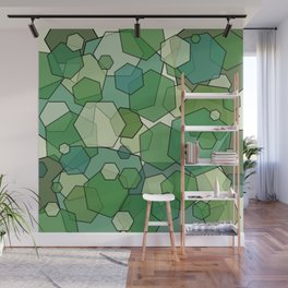 Converging Hexes - Green and Yellow Wall Mural