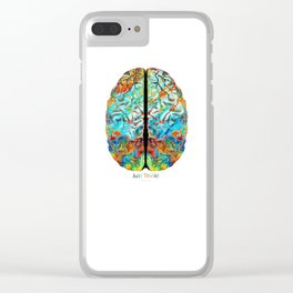 Colorful Brain Art - Just Think - By Sharon Cummings Clear iPhone Case