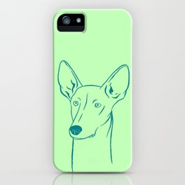 Ibizan Hound (Olive Green and Teal) iPhone Case