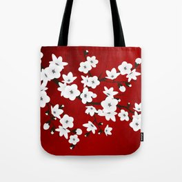 Red Black And White Cherry Blossoms Tote Bag