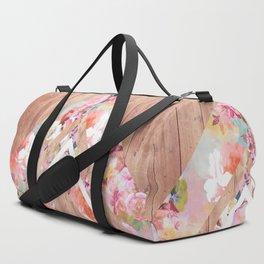 Vintage floral watercolor rustic brown wood geometric triangles Duffle Bag