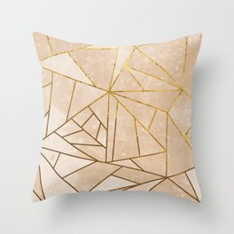 Rustic Stone With Modern Gold Accent Lines Throw Pillow