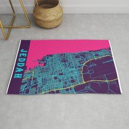 Jeddah Neon City Map, Jeddah Minimalist City Map Art Print Rug